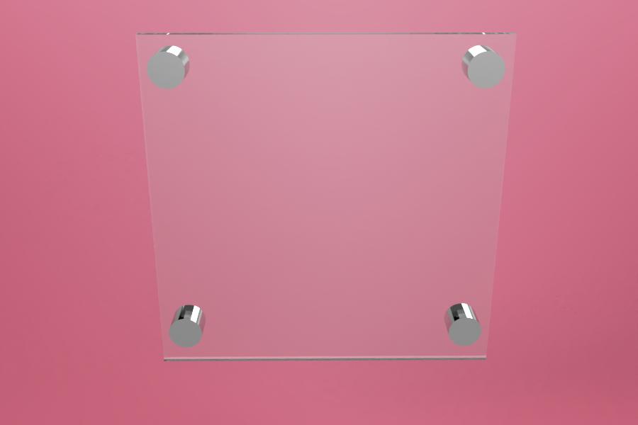 Tabliczka dystansowa szklana 20×20 cm, na 4 złączkach dystansowych