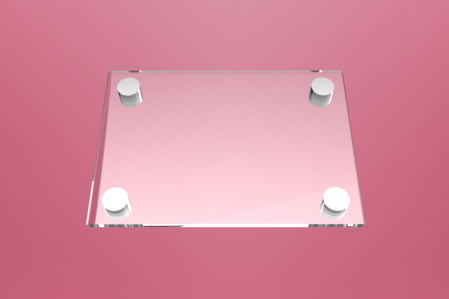 Tabliczka dystansowa szklana 21×15 cm, na 4 złączkach dystansowych
