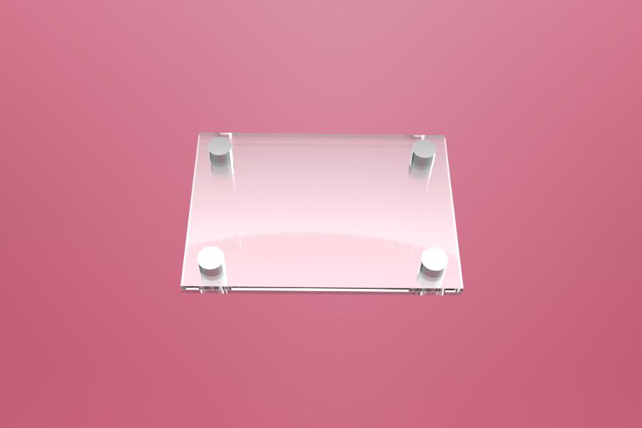 Podwójna tabliczka dystansowa szklana 20×15 cm, na 4 złączkach dystansowych