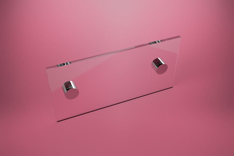 Tabliczka dystansowa z plexi (PMMA) 21×10 cm, na 2 złączkach dystansowych